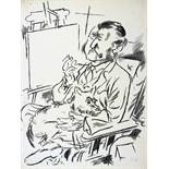 George Grosz. Selbstbildnis mit Hund vor der Staffelei. Lithographie. 1926. 41 : 31 cm. Signiert.