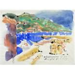 André Ficus. Villefranche-sur-Mer. Aquarell und Tusche. 1970. 46 : 63 cm. Signiert, datiert und