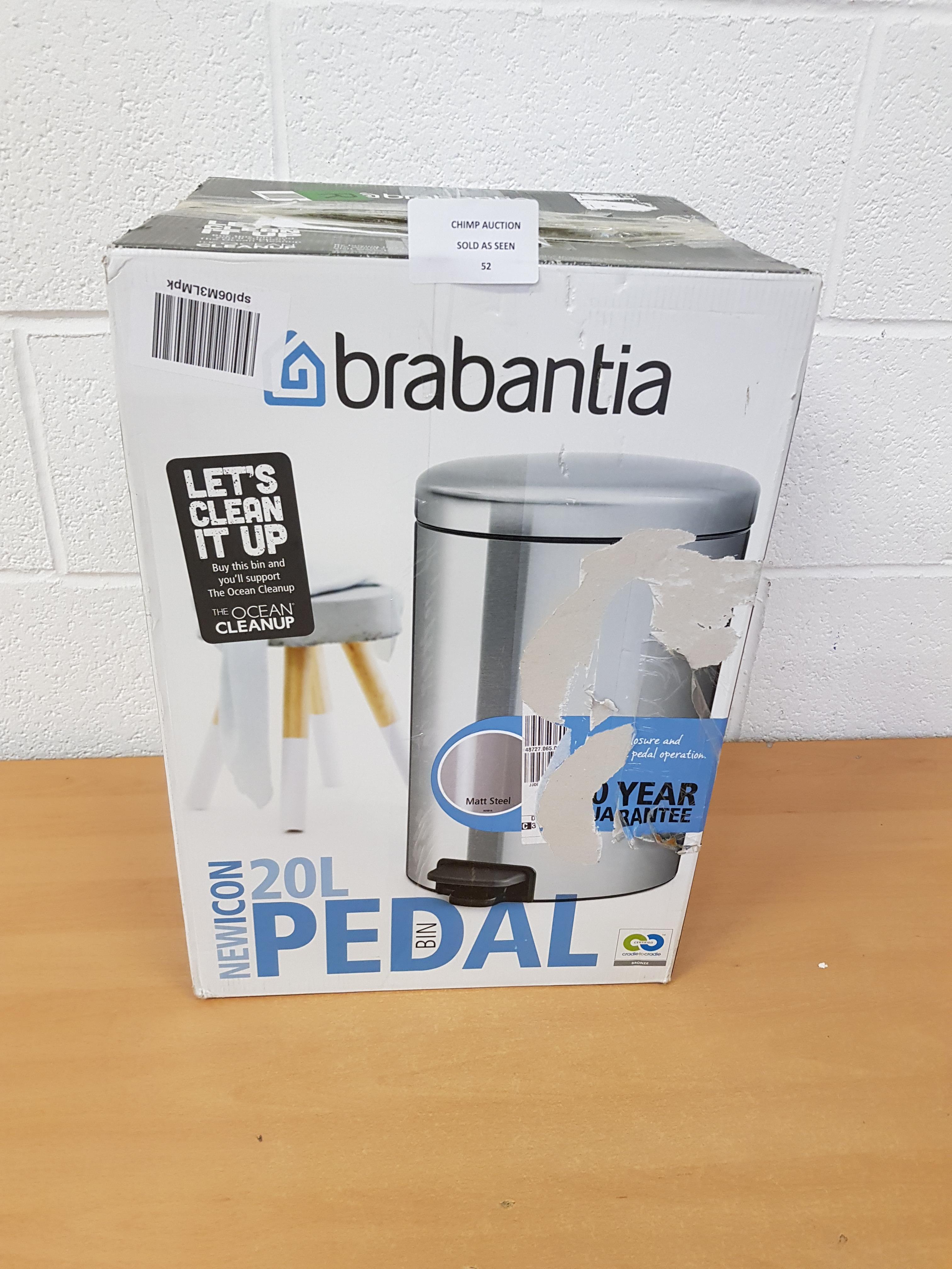 Lot 52 - Brabantia 20L Pedal Bin