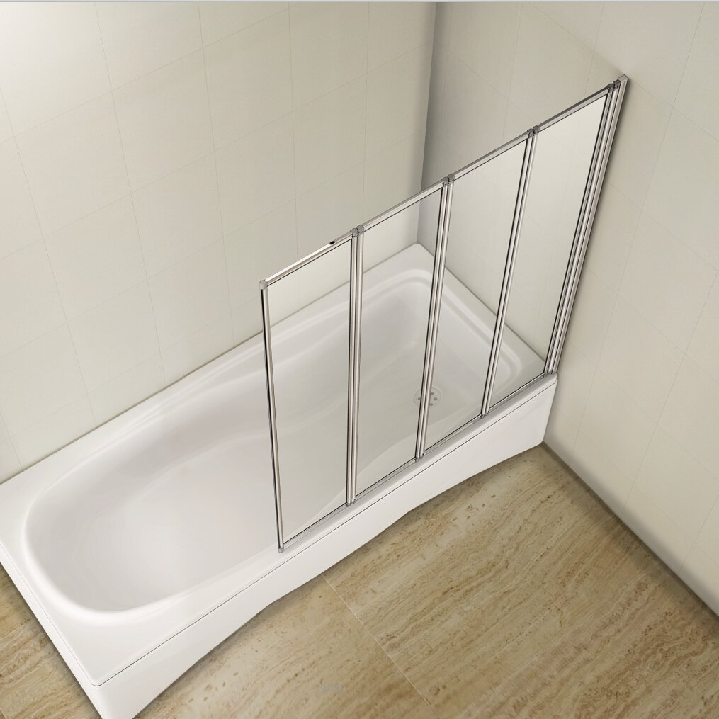 Aqualux 4-Folding Shower Bath Screen Toughened Glass Panel RRP £129.99