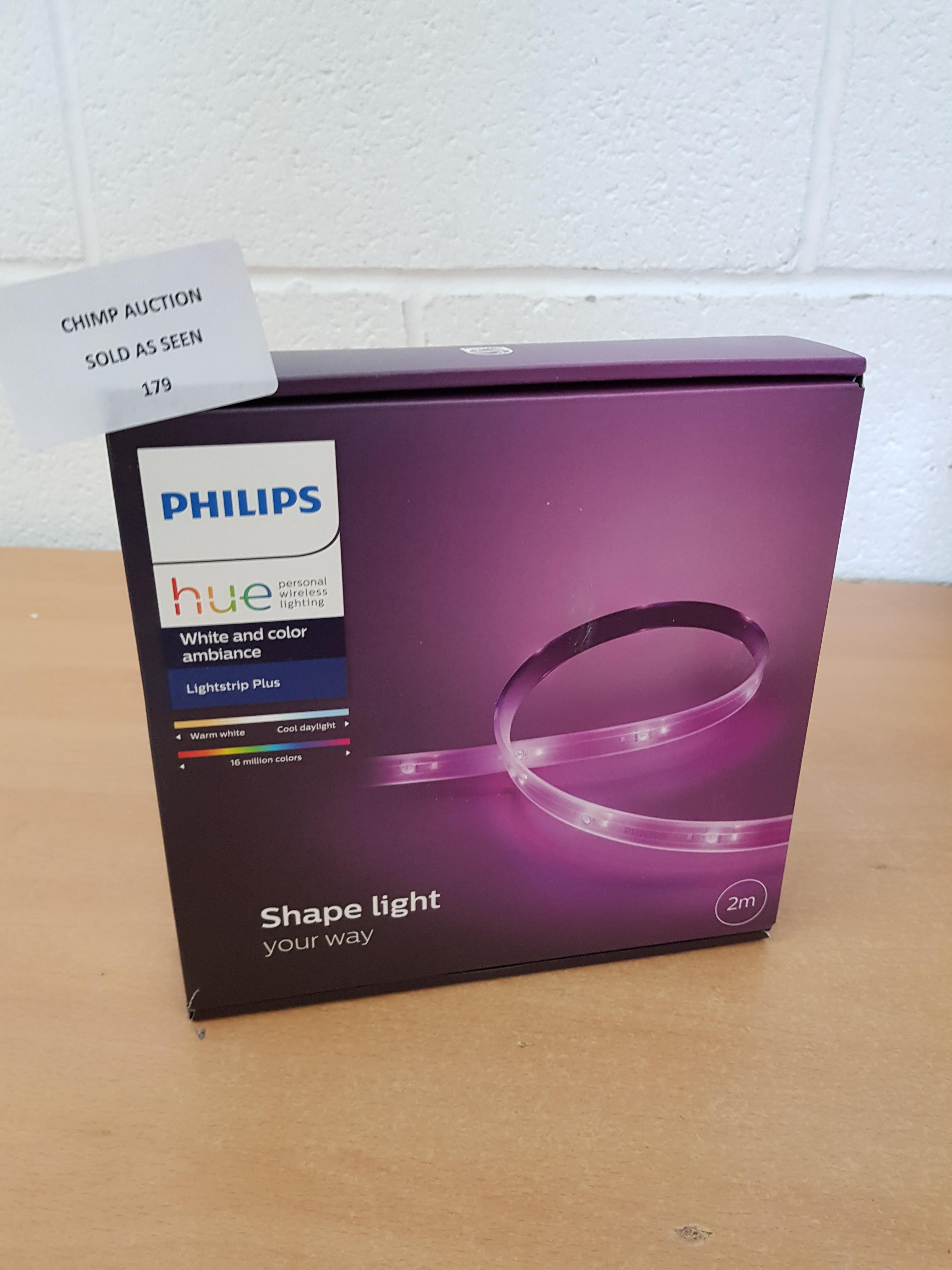 Lot 179 - Philips Hue LightStrip Plus 2 m Dimmable LED Smart Kit RRP £69.99.