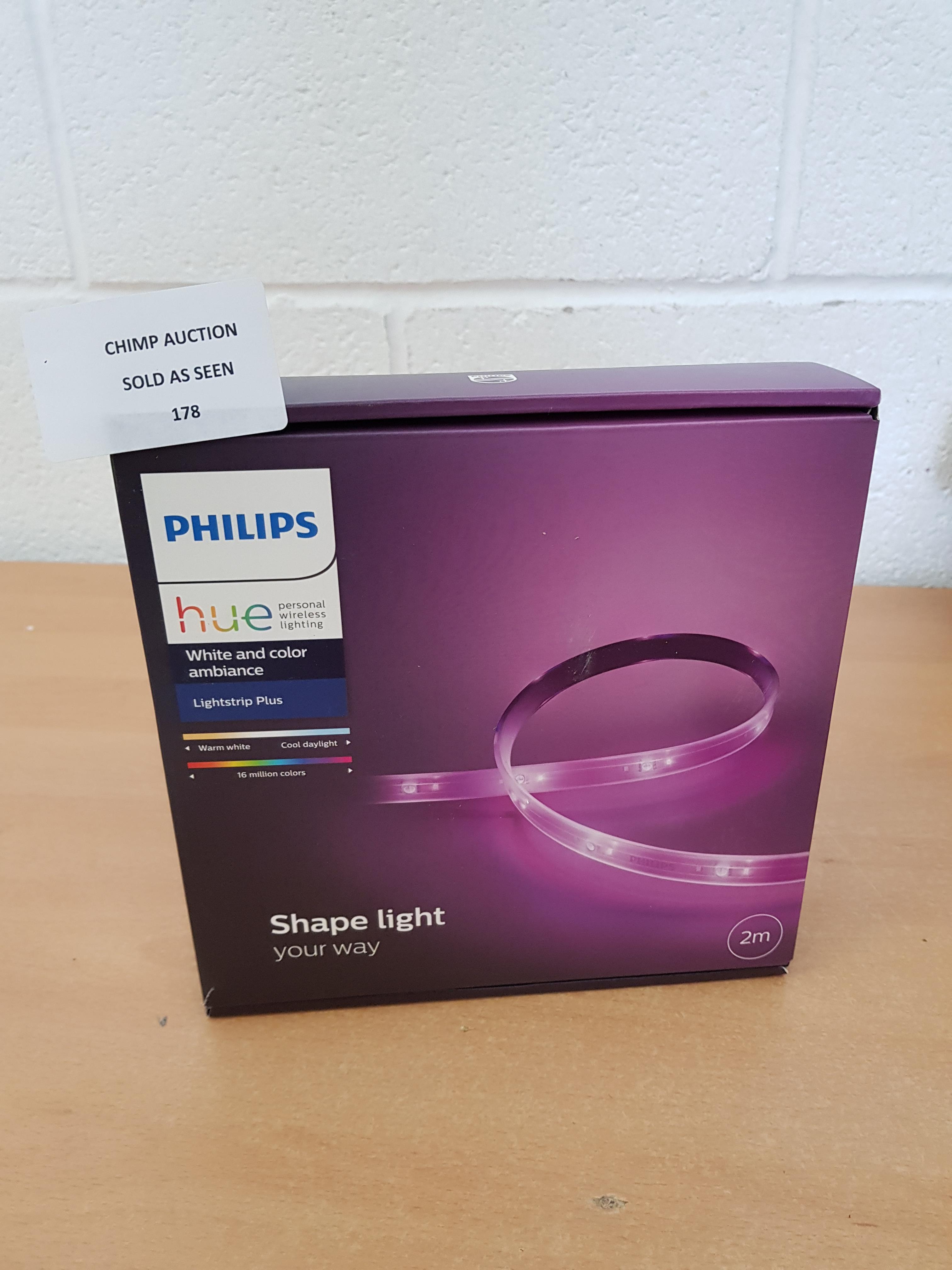 Lot 178 - Philips Hue LightStrip Plus 2 m Dimmable LED Smart Kit RRP £69.99.