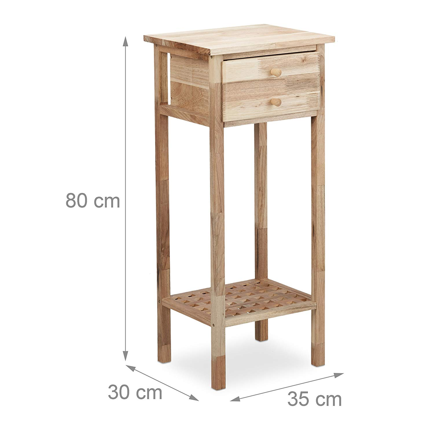 Relaxdays Walnut Side Table with Drawer, 2 Shelves