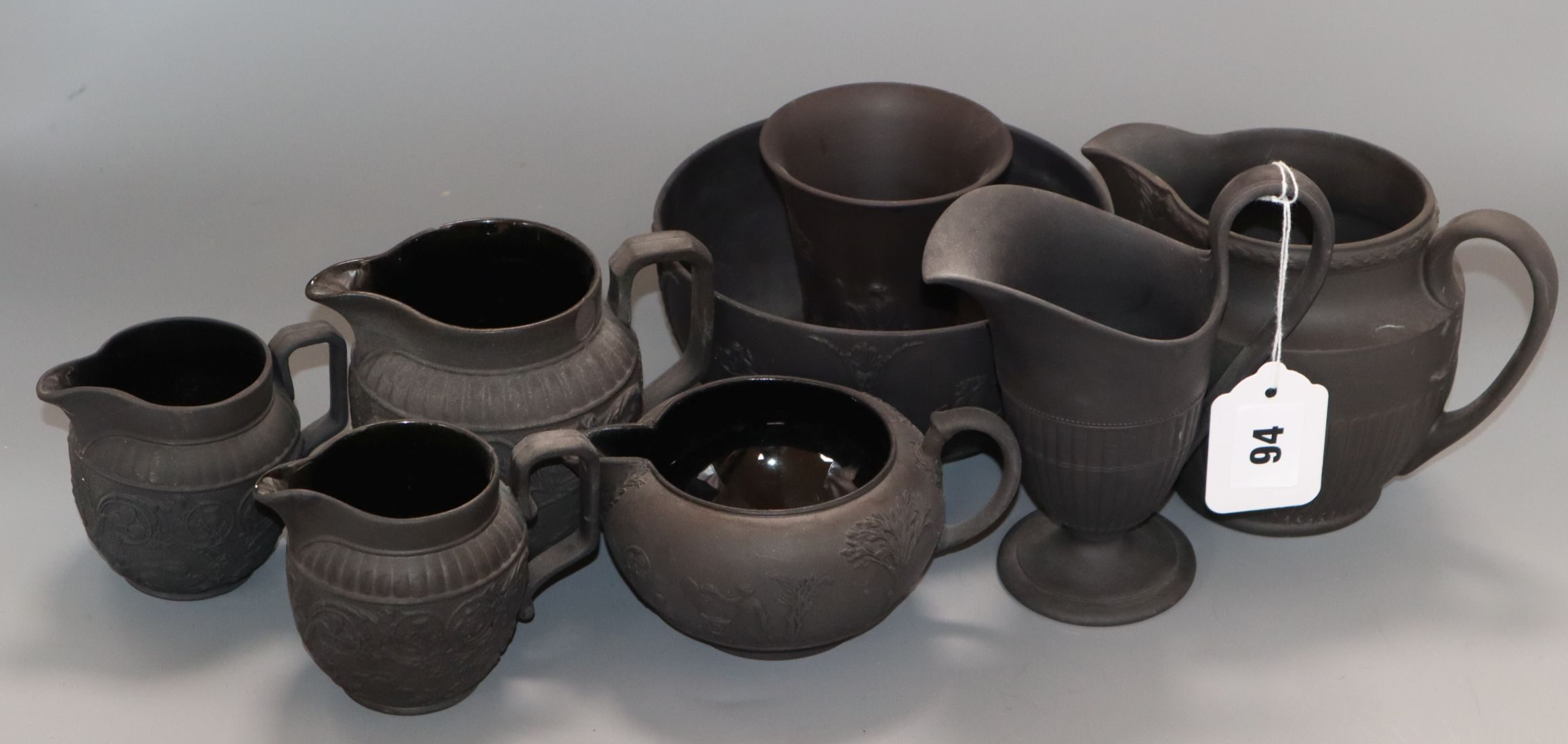 Lot 94 - A group of Wedgwood basalt tea wares