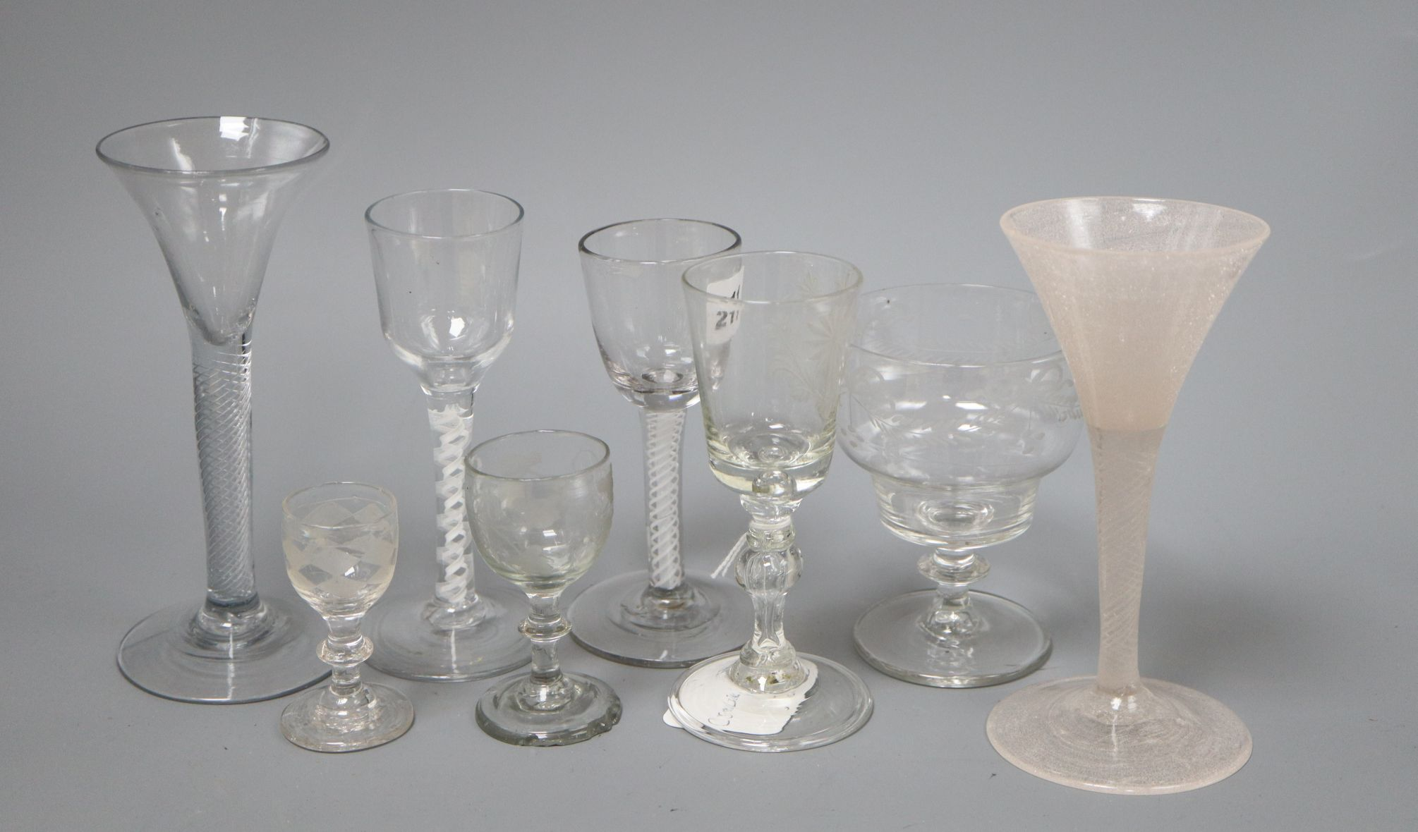 Lot 31 - Four 19th century air and cotton twist cordial glasses and four others tallest 17cm