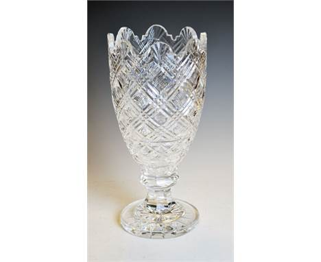 Waterford crystal cut glass vase, etched mark to base, 34cm high   Condition: **Due to current lockdown conditions, bidders a