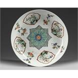 A CHINESE FAMILLE VERTE 'FLORAL' DISH, KANGXI PERIOD (1662-1722)