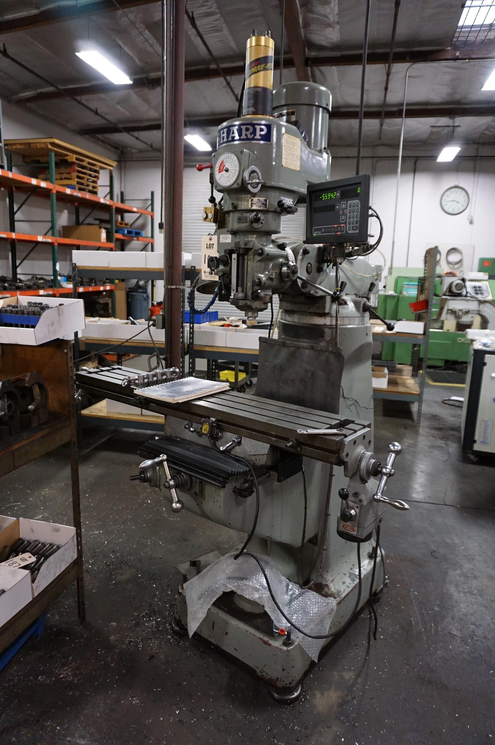 """SHARP VERTICAL MILLING MACHINE, 9"""" x 50"""" TABLE, S/N 70200420, WITH NEWALL TOPAZ DRO, WITH MANUAL AND"""