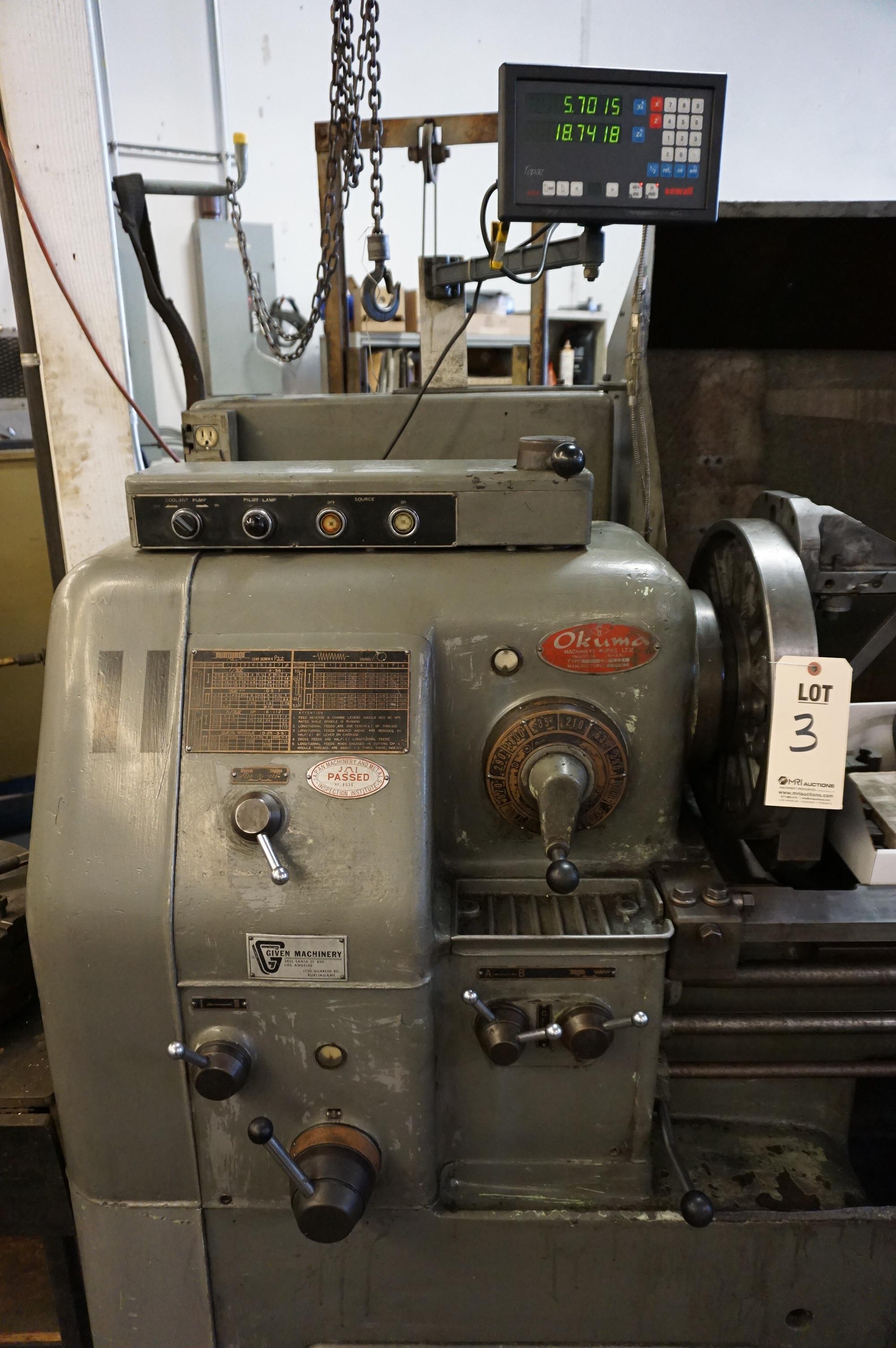"1965 OKUMA LS 16"" x 47"" SWING, S/N 8656, NEWALL TOPAZ DRO, SKY HOOK 500 LB CRANE, 1 TON CRANE, - Image 3 of 11"