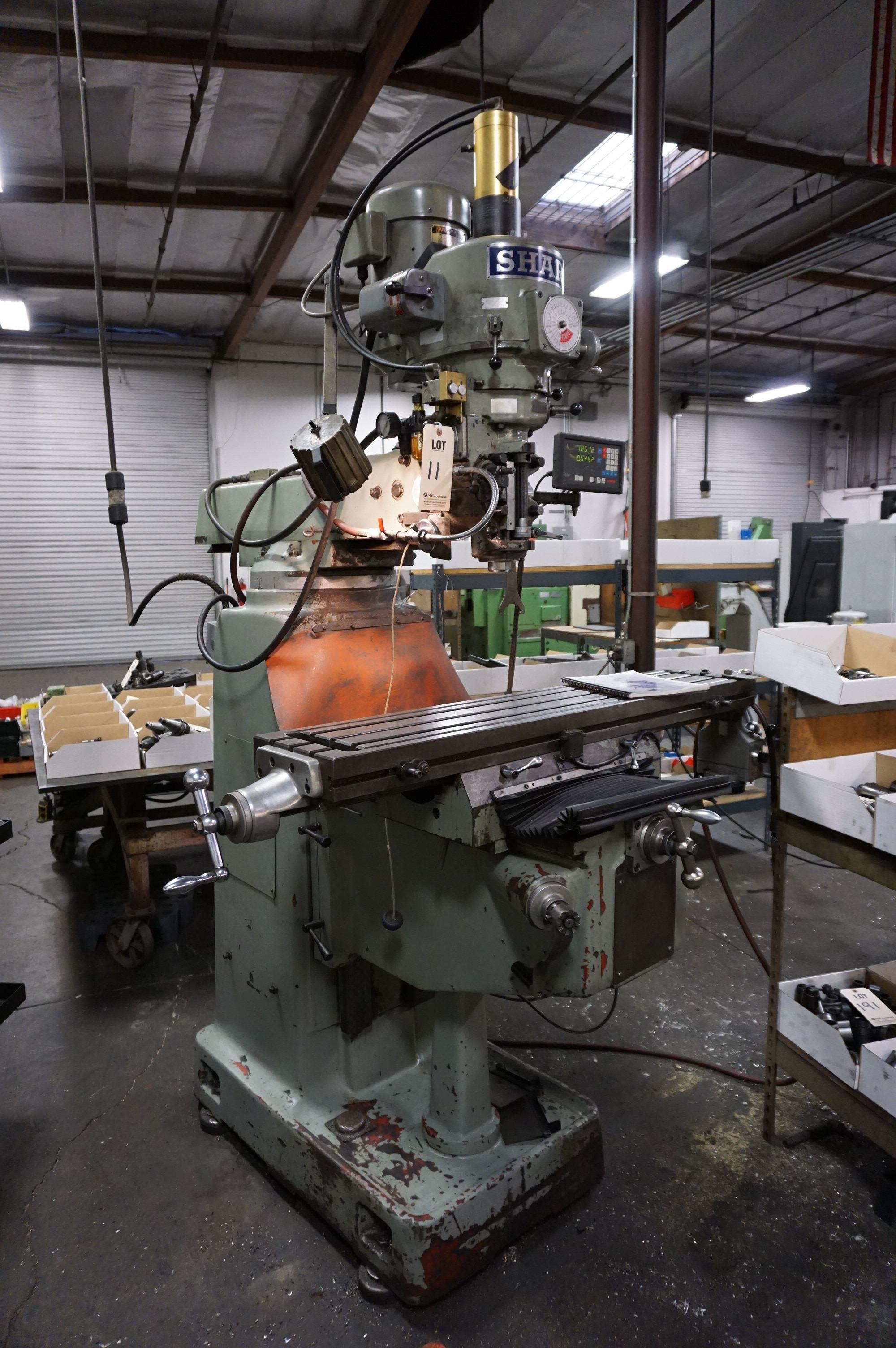 """SHARP VERTICAL MILLING MACHINE, 10"""" x 50"""" Table, S/N 70200420, with Newall Topaz DRO, with Manual"""