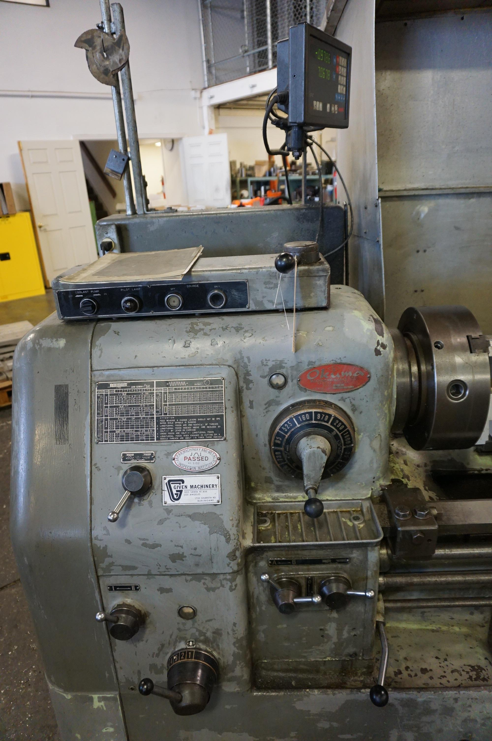 """OKUMA LS 16"""" x 47"""" SWING, S/N 4012-8916 WITH NEWALL TOPAZ DRO, WITH CATALOG, CHUCK, AND TOOL - Image 3 of 8"""
