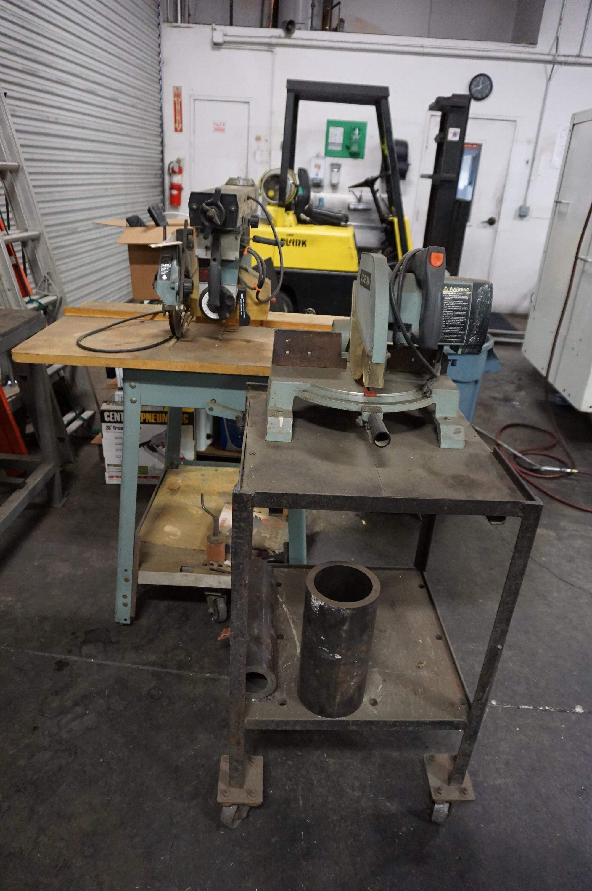 """LOT TO INCLUDE: DELTA MODEL 10 RADIAL ARM TABLE SAW, DELTA 10"""" MITER SAW MODEL 34-080"""