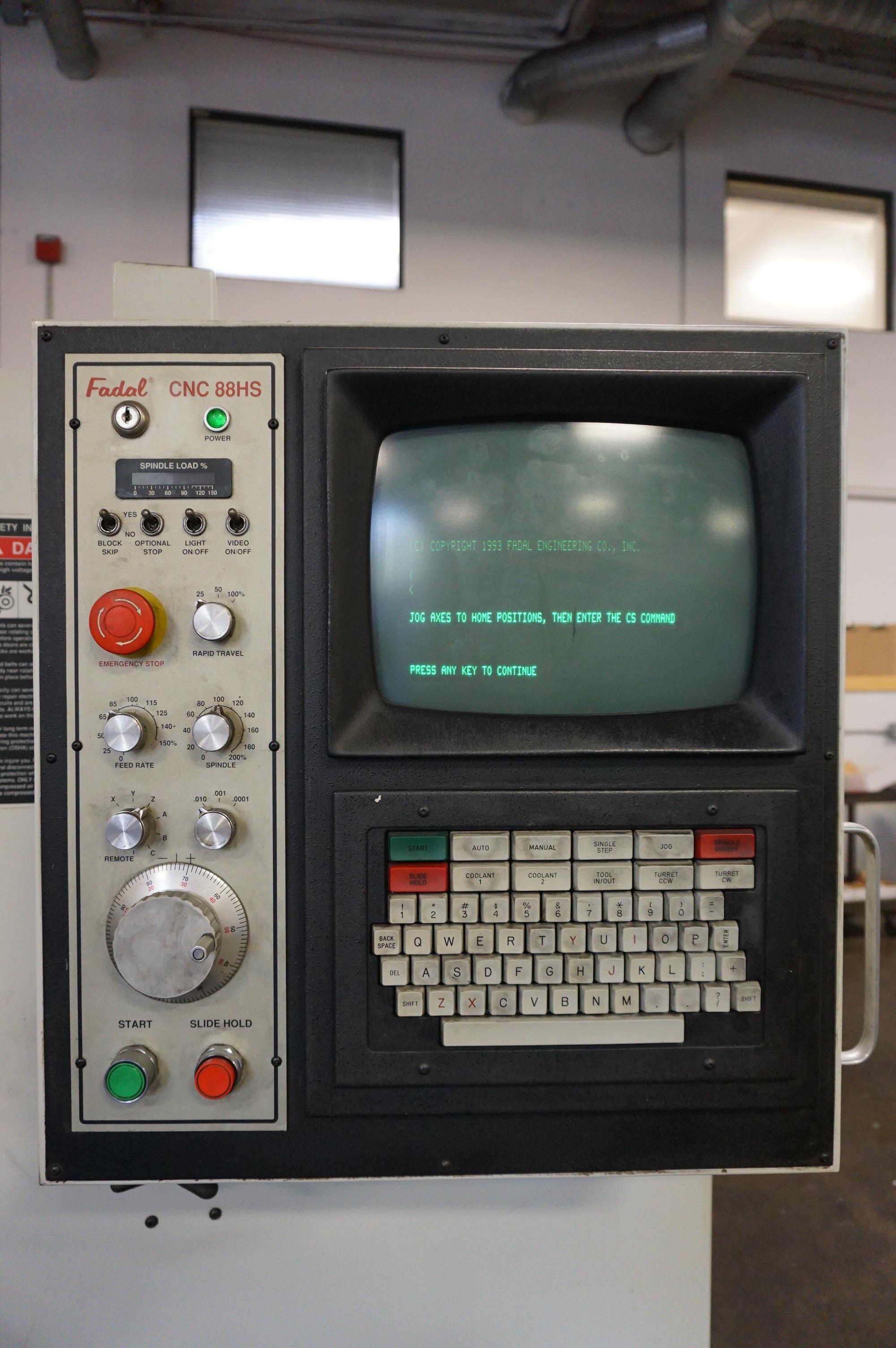 1995 FADAL VERTICAL MACHINING CENTER 3016 HT, S/N 9501703, 3 AXIS, WITH MANUALS - Image 8 of 12