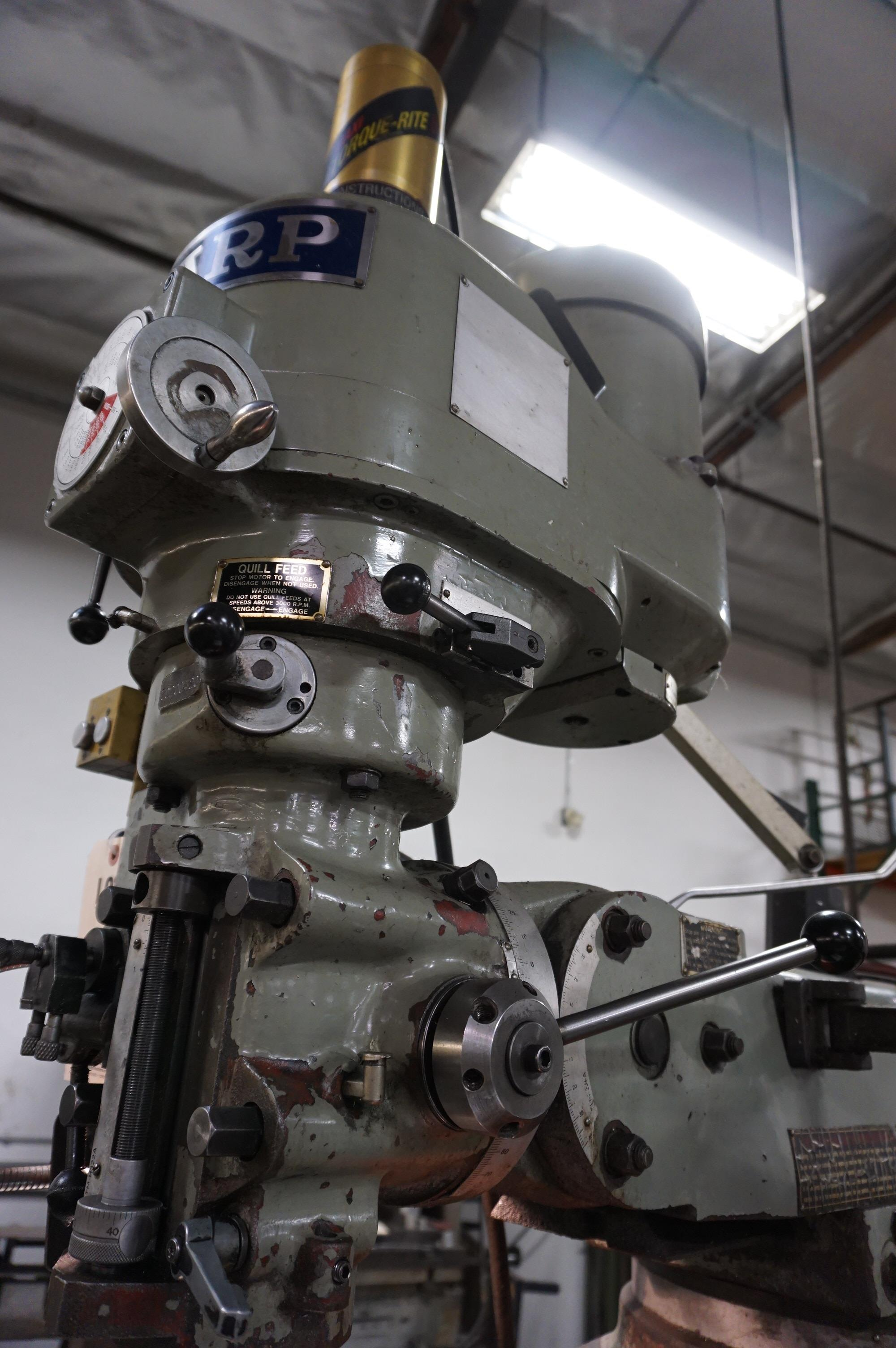 """SHARP VERTICAL MILLING MACHINE, 10"""" x 50"""" Table, S/N 70200420, with Newall Topaz DRO, with Manual - Image 4 of 7"""