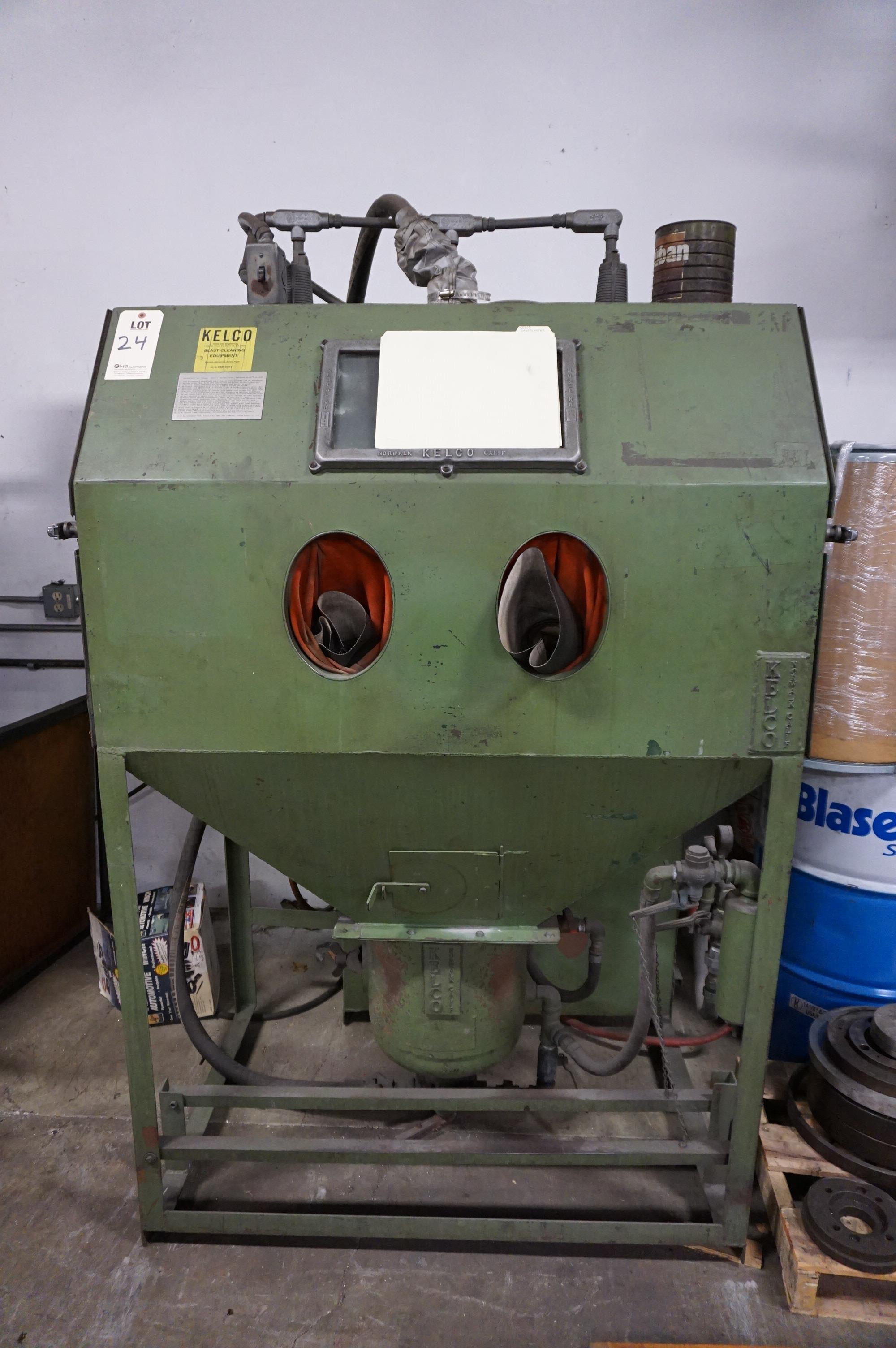 KELCO SAND BLASTING CABINET, MODEL NO CH48C, S/N C3443, WITH CATALOG