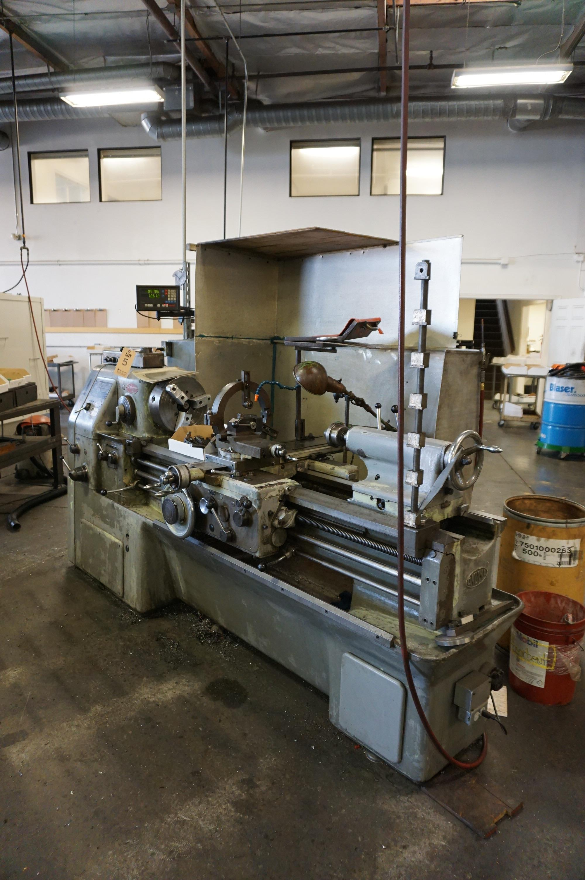 """OKUMA LS 16"""" x 47"""" SWING, S/N 4012-8916 WITH NEWALL TOPAZ DRO, WITH CATALOG, CHUCK, AND TOOL - Image 2 of 8"""