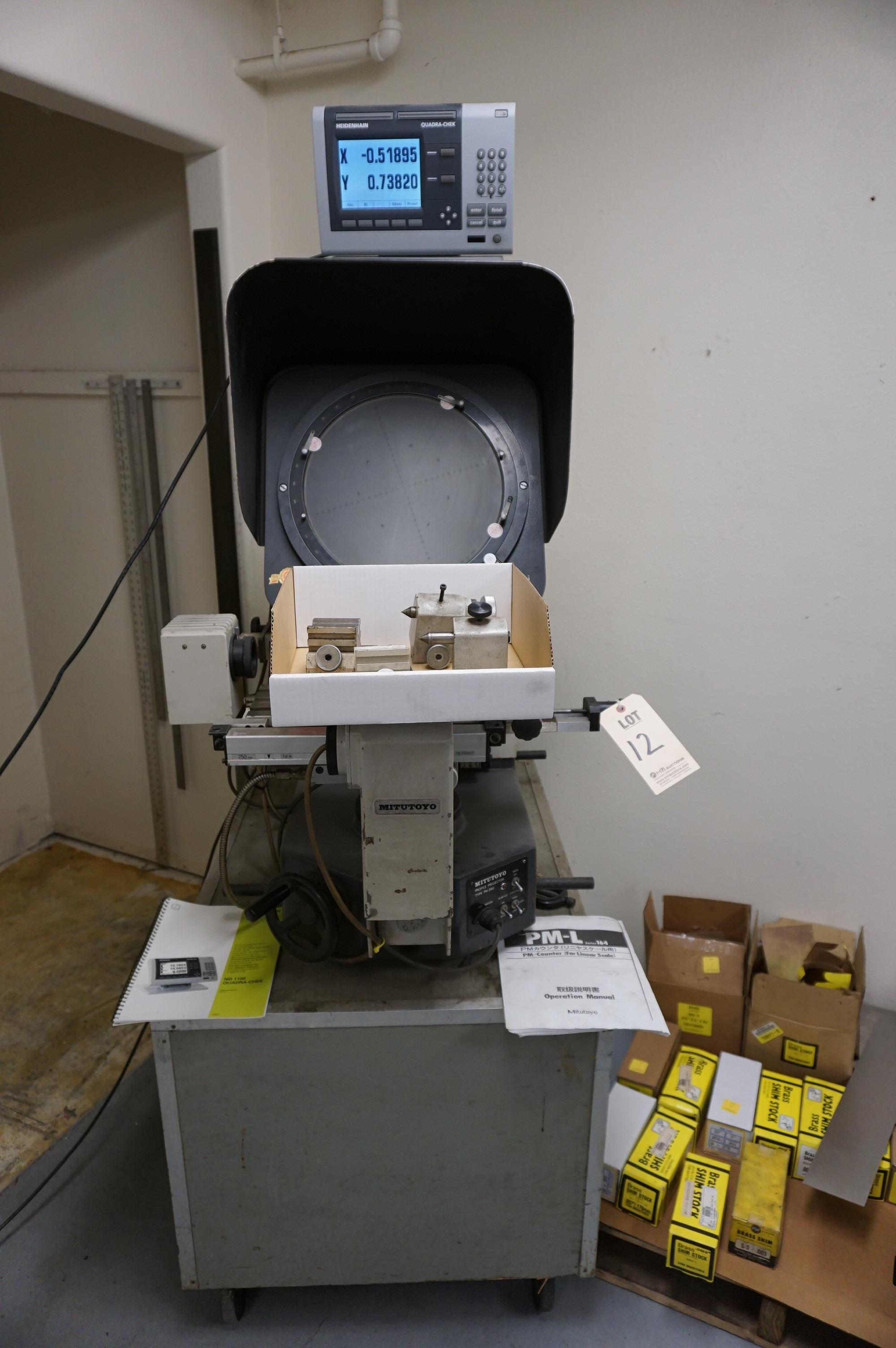 MITUTOYO PH-350 OPTICAL COMPARATOR, CODE 172-101, S/N 570 WITH HEIDENHAIN ND-1100 QUADRA-CHEK DRO,