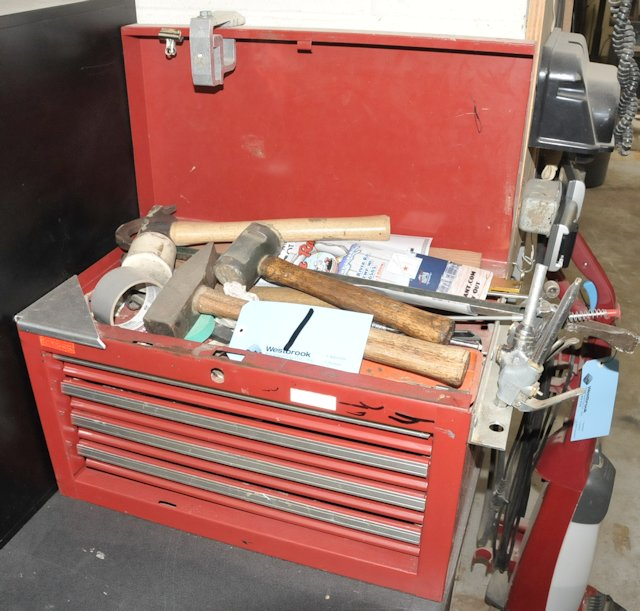 Lot-(1) 4-Drawer Tool Box with Contents and Tools on Wall