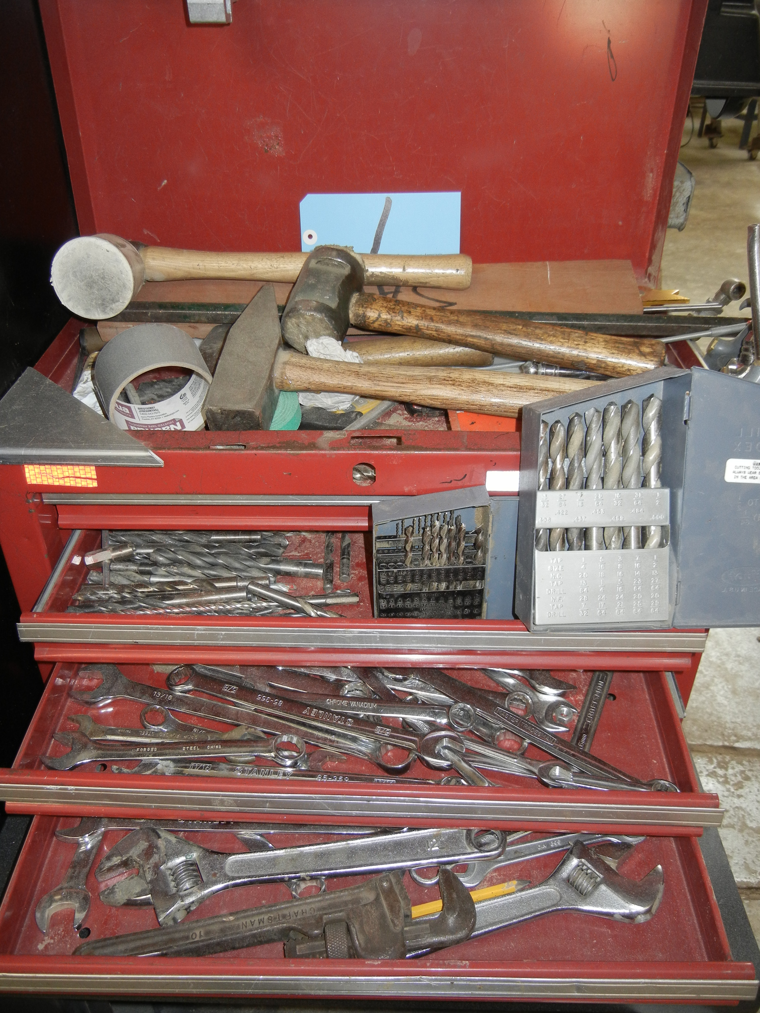 Lot-(1) 4-Drawer Tool Box with Contents and Tools on Wall - Image 3 of 3