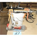 Lot-Caulk guns; Paint Rollers; etc. in (1) Bucket and (1) Pan