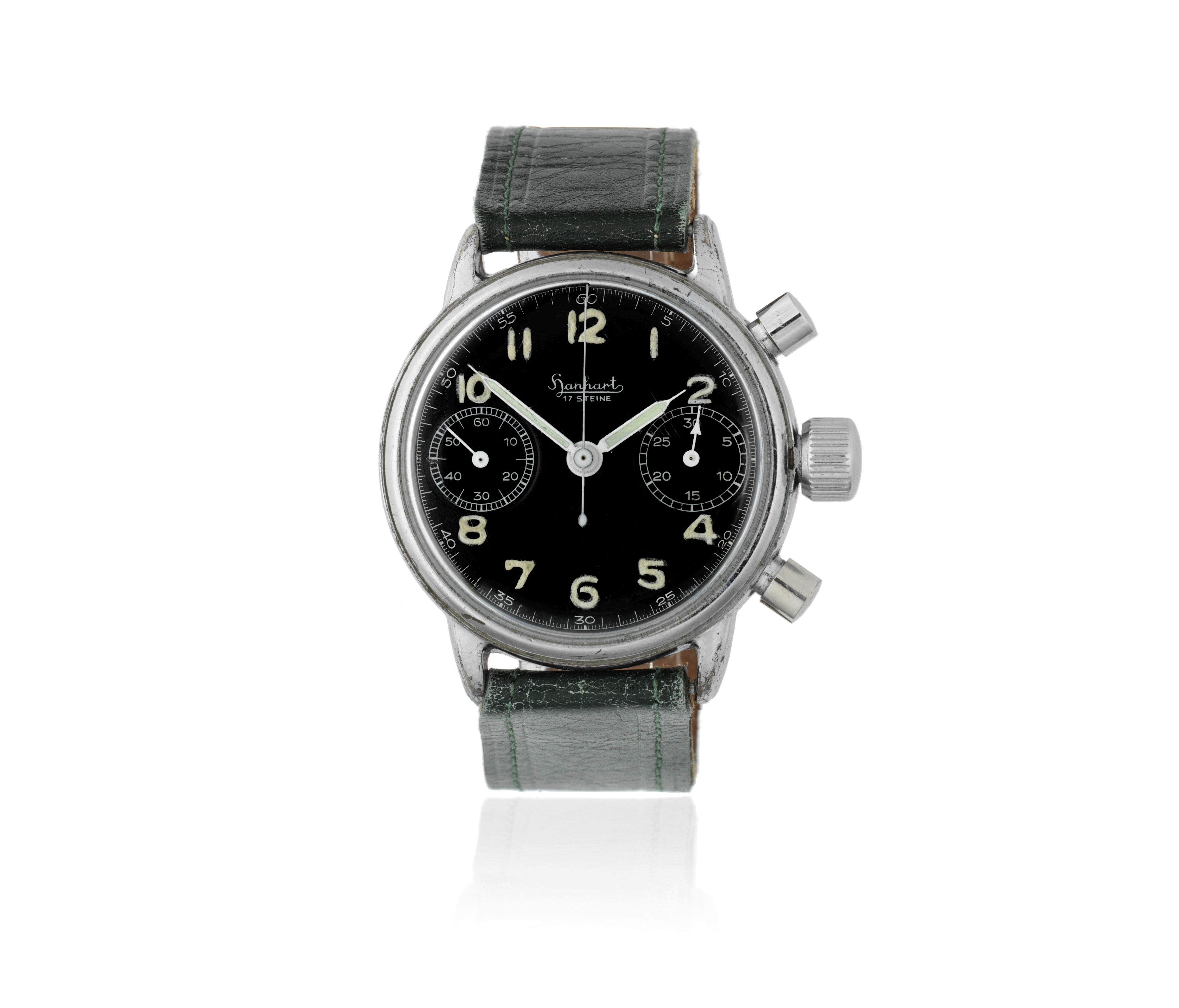 Lot 97 - Hanhart. A nickel plated manual wind chronograph military wristwatch Circa 1960
