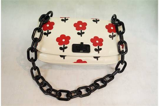 Prada: cream goatskin \u0026#39;Madras\u0026#39; bag, decorated red leather poppies ...