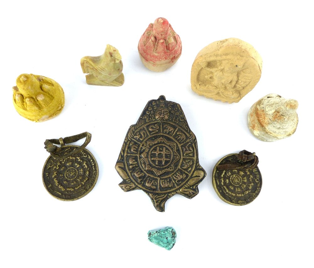 Lot 59 - A selection of antique Asian artefacts comprising bronze zodiacal medallions, clay models of