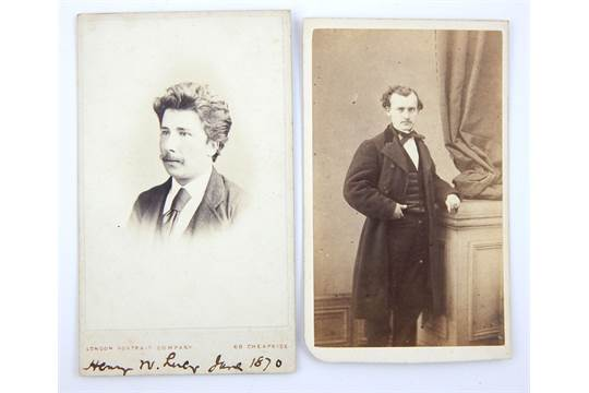 Two Cartes De Visite Edgar Allan Poe Author And Henry Lacey Journalist Approx 10cm H