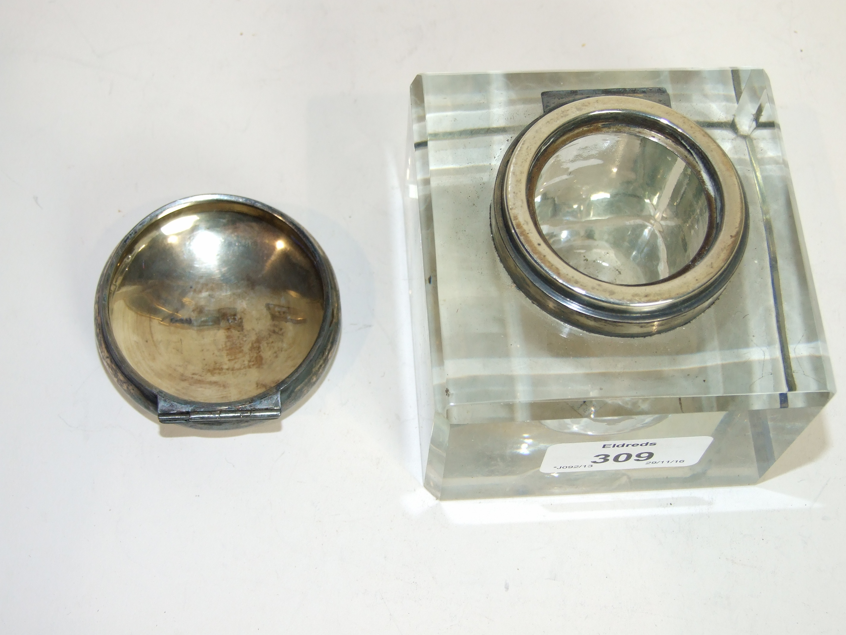 Lot 309 - A square glass inkwell with hinged silver lid, Birmingham 1900, 9cm high.