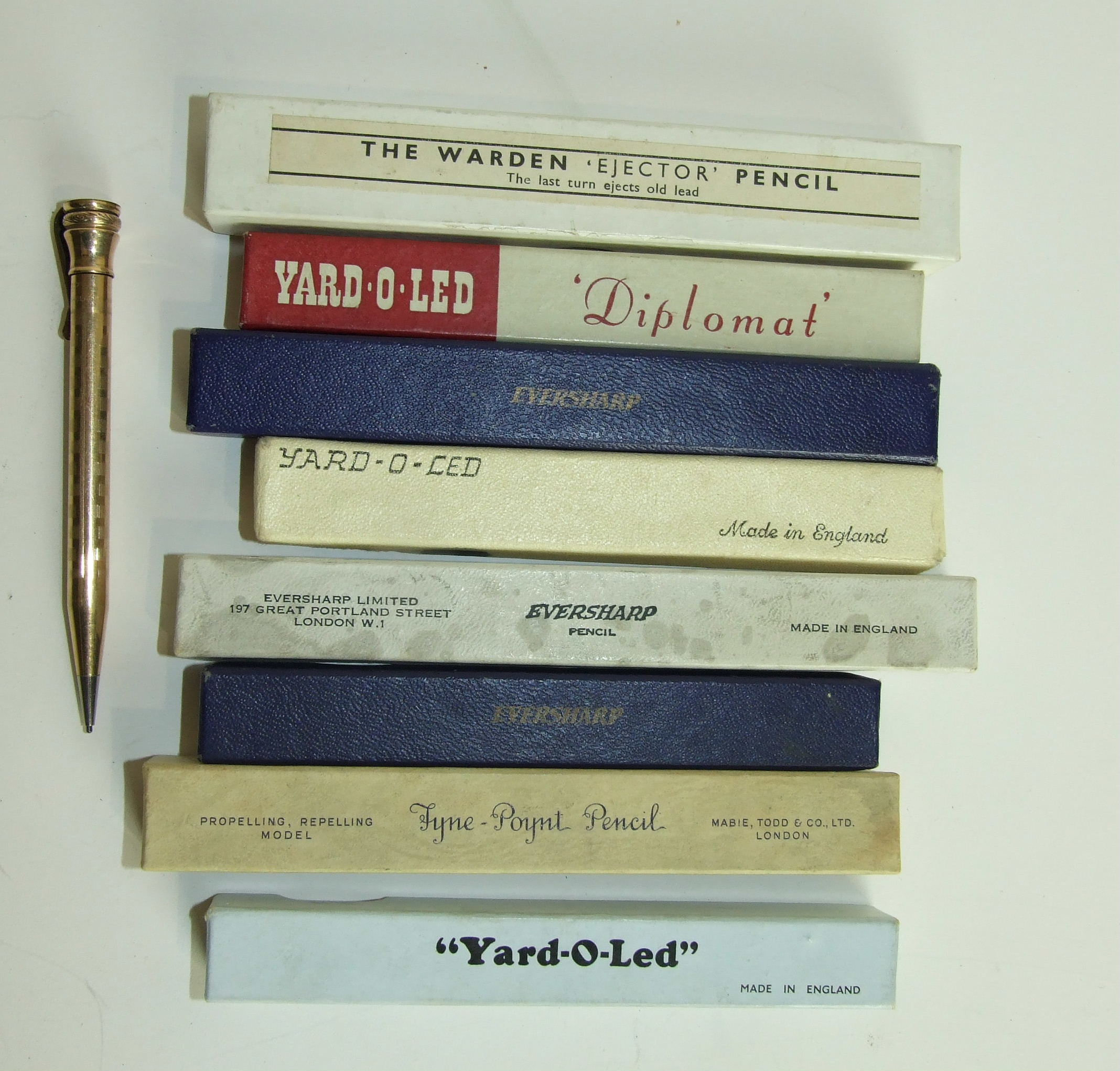 Lot 324 - Nine gold plated pencils including Yard-O-Led, Mabie Todd & Co, Eversharp, (eight boxed), (9).