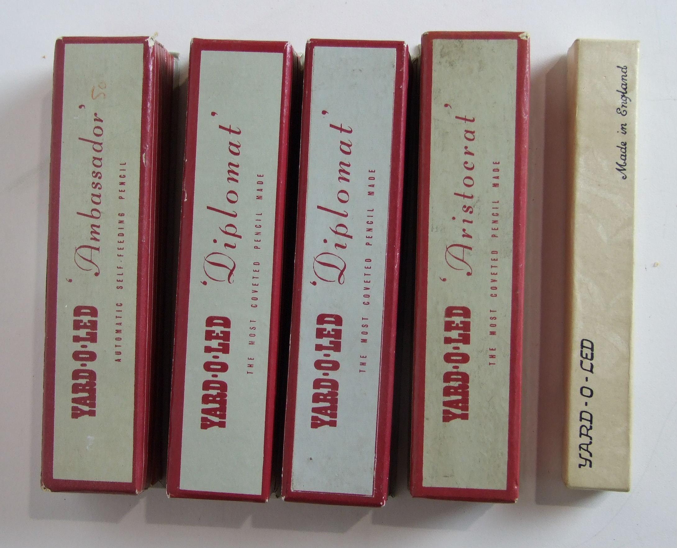 Lot 325 - Five boxed Yard-O-Led silver pencils, (5).
