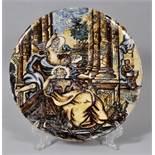Historismus-Majolika-Platte, Italien, 19. Jh.Runde Platte, reiche polychrome Bemalung mit