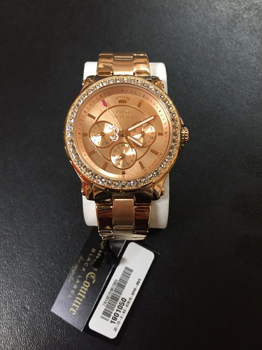 Lot 1H - 1 UNBOXED LADIES JUICY COUTURE PEDIGREE CHRONOGRAPH WATCH 1901050 IN ROSE GOLD / RRP £185.00 (