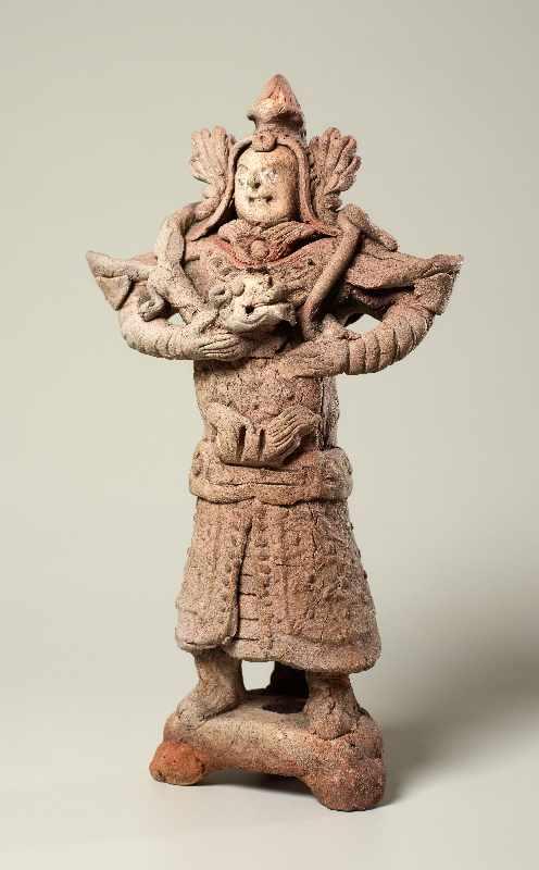 TRUTZIGER GRABWÄCHTER MIT SCHLANGE Terrakotta. China, Yuan-Dynastie (ca. 14. Jh.) Witzig geformt, - Image 2 of 6