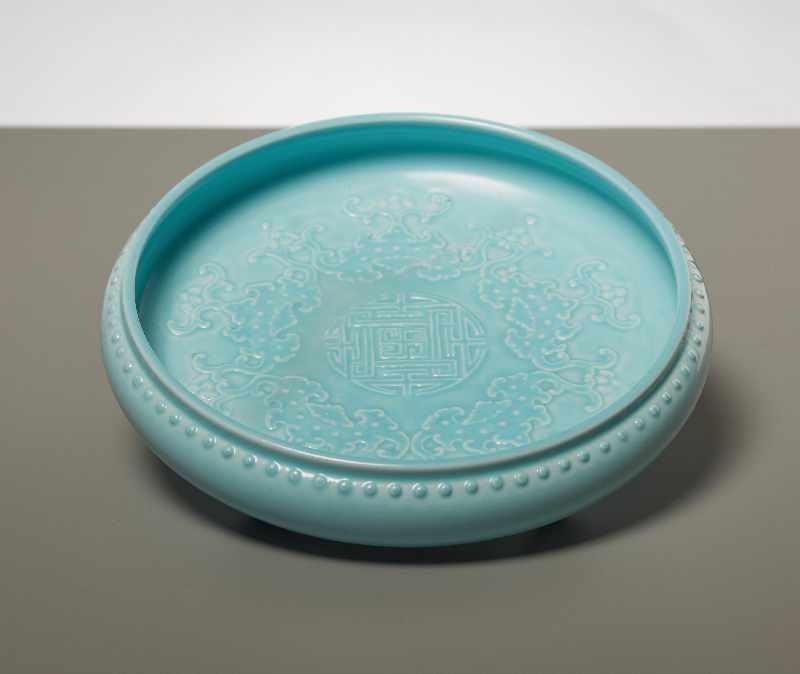 SCHALE MIT LANGLEBENSSYMBOLEN Porzellan. China, sp. Qing, vermutl. Guangxu (1873 - 1908)