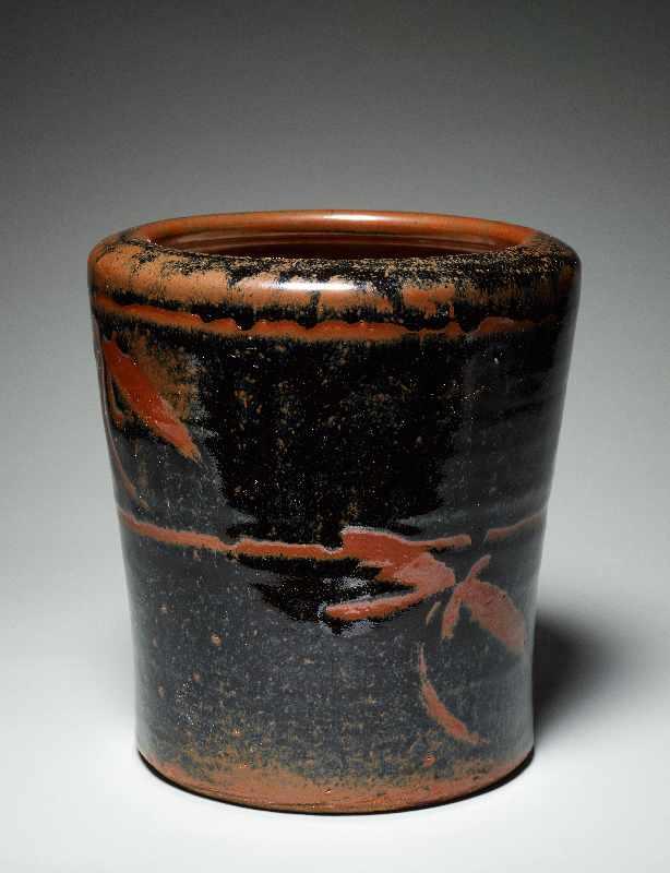 TOPFGEFÄSS Glasierte Keramik. Japan, ca. Meiji bis danach Hohe, etwas nach außen gebogen sich - Image 2 of 5