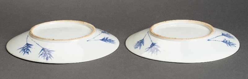 PAAR GRÖSSERE TELLER Blauweiß-Porzellan. China, Qing-Dynastie, 19. Jh. Beide Teller bieten das - Image 3 of 4