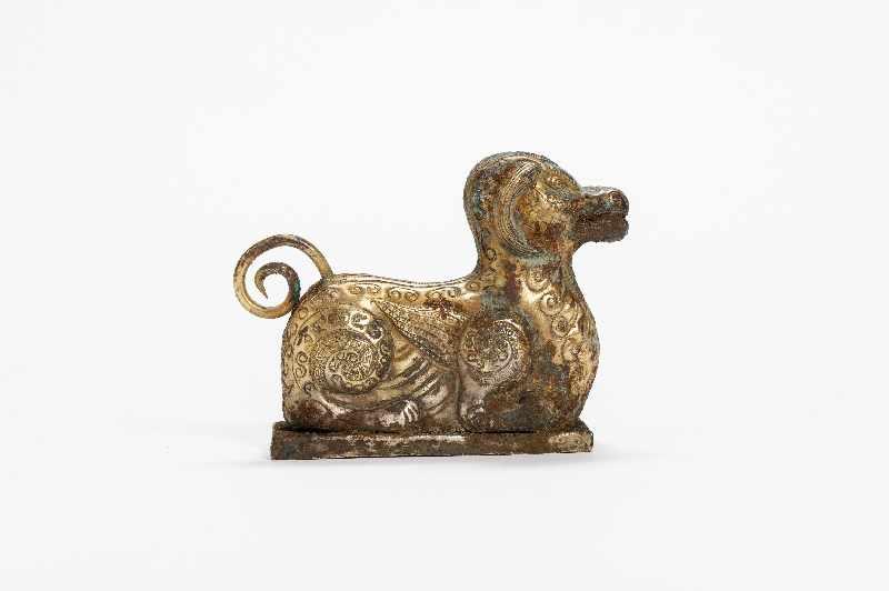 FABELTIER Kupfer-Repoussé mit Feuervergoldung. China, vermutlich Qing Dynastie Im archaistischen - Image 2 of 6