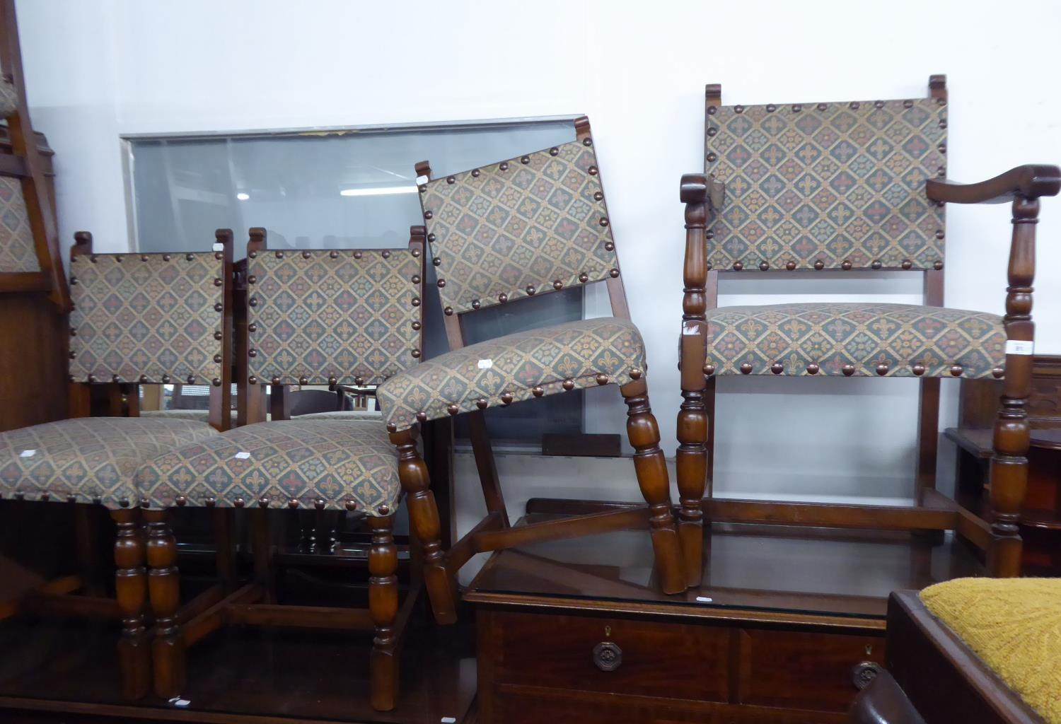 Lot 20 - A SET OF FIVE OAK DINING CHAIRS OF COMMONWEALTH STYLE, WITH UPHOLSTERED BACK PANELS AND STUFFED OVER