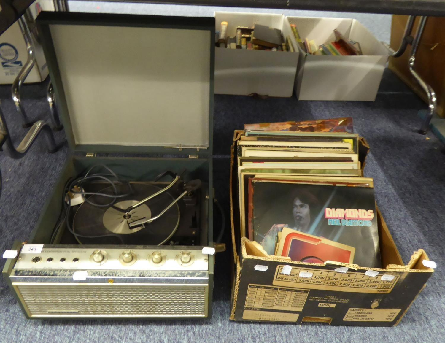 Lot 343 - GARRARD TURNTABLE IN CASE AND A QUANTITY OF RECORDS VARIOUS