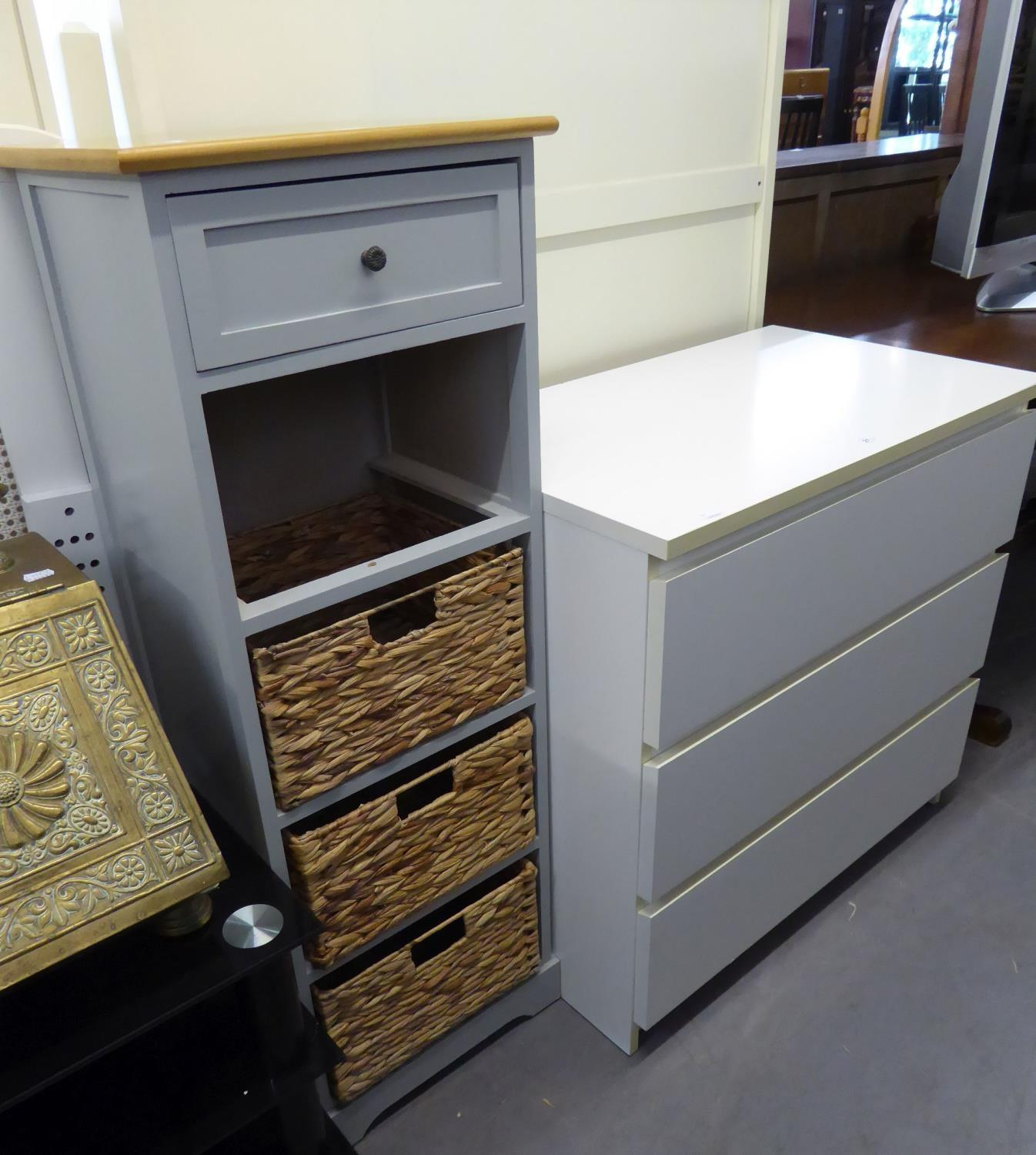 Lot 27 - MODERN WHITE THREE DRAWER CHEST AND A GREY PAINTED NARROW TALL CHEST WITH WICKER DRAWERS (2)