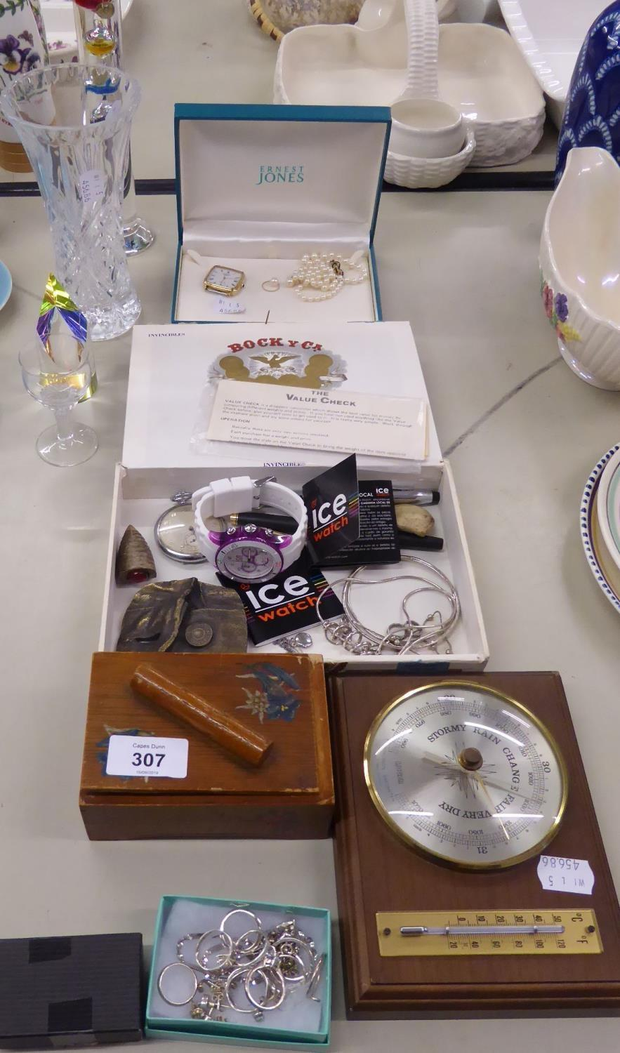 Lot 307 - TWO BALLPOINT PENS, 11 SILVER COLOURED METAL RINGS, FIVE CHAINS, SILVER COLOURED METAL BANGLES,