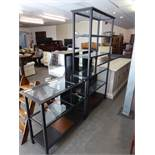 A MODERN METAL FRAMED BOOKSHELF, HAVNG FIVE GLASS SHELVES AND A SMALLER EXAMPLE (2)