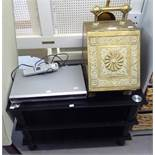 A BRASS COAL SCUTTLE AND A MODERN BLACK GLASS TV STAND AND A DVD PLAYER (3)