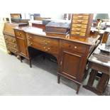 Victorian mahogany sideboard, having two central long drawers, each end having single drawer over
