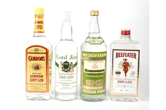 Lord Jim Gin Old Bottling 1 Bottle Beefeater Gin 1bottle Gordons Gin Old Bottling 1 Bottle Vod