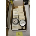 "LOT OF UNUSED PRESSURE GAUGES, (Approx. 13), (5)  MARSHALLTOWN, 2.5"", 58KB, 1/8 NPT, 30 X 300"" HGX"