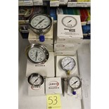 "LOT OF UNUSED PRESSURE GAUGES, (Approx. 13) ABCO, 2.5"" - 4.0"", 0-30 up to 0-10,000 PSI, 1/4"" & ½"""