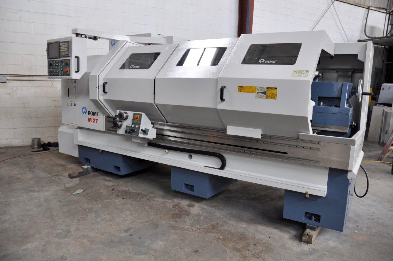 "Lot 1 - COMBINATION CNC LATHE, ROMI 27"" X 80"" MDL. M-27, new 2007, G.E. Fanuc 21i-T CNC control, 21"" 4-jaw"