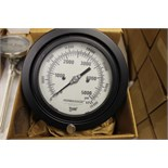 "LOT OF UNUSED PRESSURE GAUGES, (Approx. 8)  MARSHALLTOWN, 4-1/2"" fic. 177F - 5,000 LB. & KPA ½"